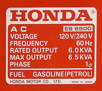 Honda ES 6500 Gasoline Generator for Sale